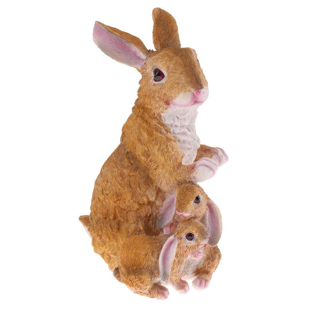 Dolity 29cm Resin 3 Rabbits Statue Lifelike Animal Model Home Garden Lawn Decor