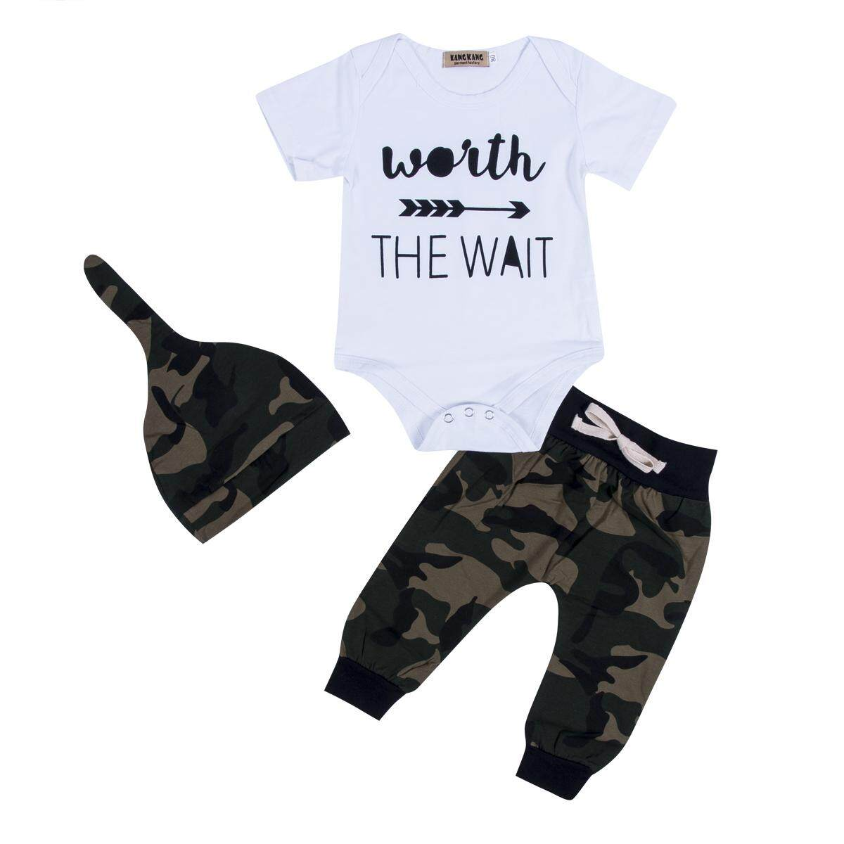 a63a8be6 Camouflage Newborn Toddler Baby Boys Clothes Romper Bodysuit + Pants  Outfits Set