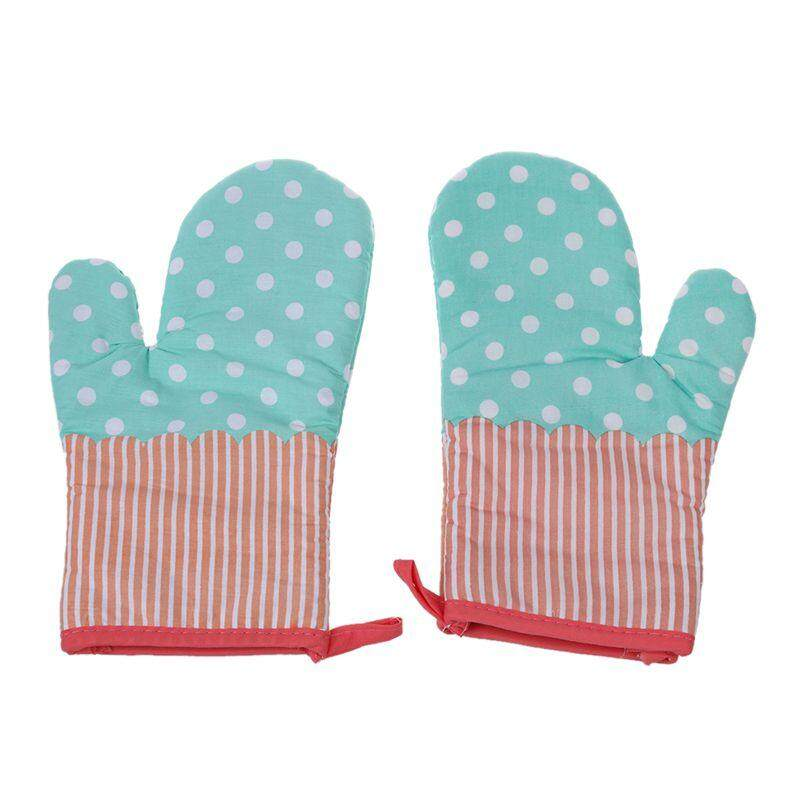 2x Oven Gloves Microwave BBQ Oven Cotton Baking Pot Mitts Kitchen Oven Mitts Heat Resistant Cooking Gloves Blue