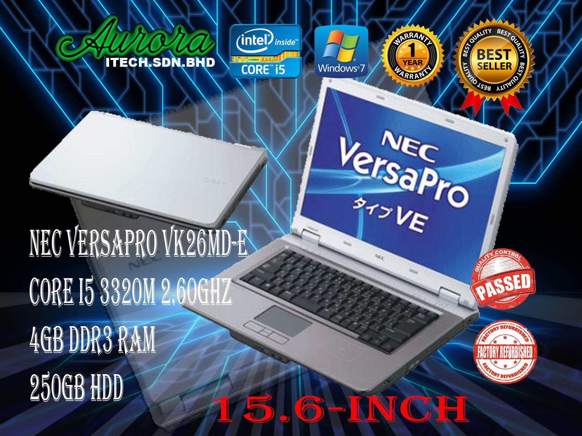 (REFURBISHED)NEC VersaPro VK26MD-E / Intel® Core™ i5-3320M 2 60GHz / 4 GB  DDR3 RAM / 250 GB SATA hdd / 15 6- INCH LCD / 1 YearWarranty,Free Mouse