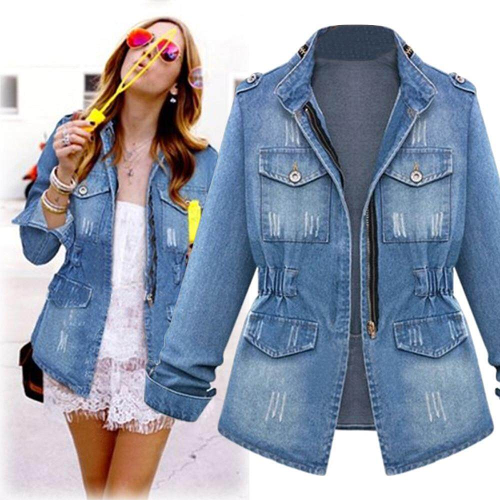 Guo Plus Size Casual Womens Ladies Denim Oversize Jeans Chain Jacket Pocket Coat By Hongshouguostore.