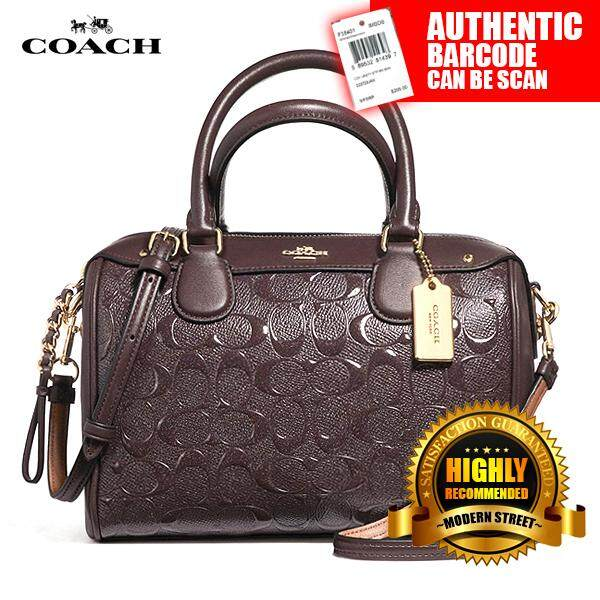 5e48d79af019 Coach F11920  NWT  Mini Bennett Satchel In Signature Debossed Patent  Leather- IML7C (Oxblood)