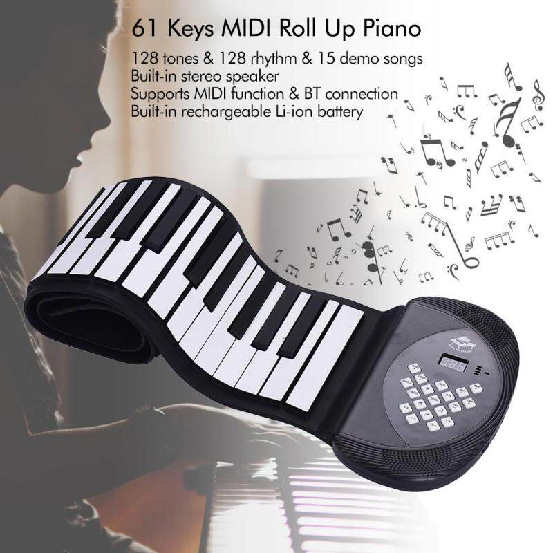 61 Keys MIDI Roll Up Piano Electronic Silicon Keyboard Stereo Speaker Support BT Connection Record Sustain functions EU plug black one Malaysia
