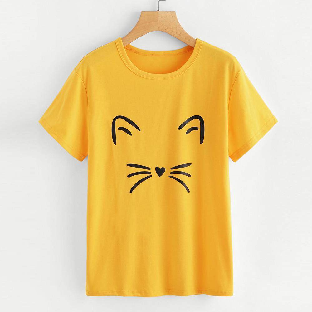 27603c021ef Women Fashion Casual Short Sleeve O-Neck Cat Printed Causal Blouse Tops T- Shirt