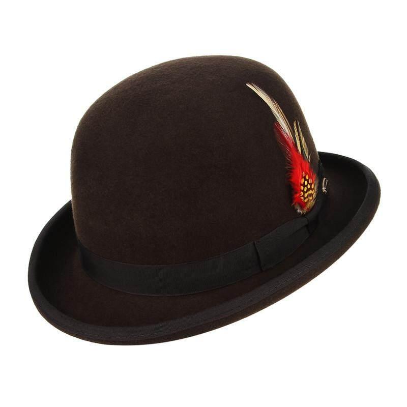 663dcfdee24ea GEMVIE Classical British Style Men Fedoras 100% Wool Felt Hat Vintage Roll  Brim Bowler Cap