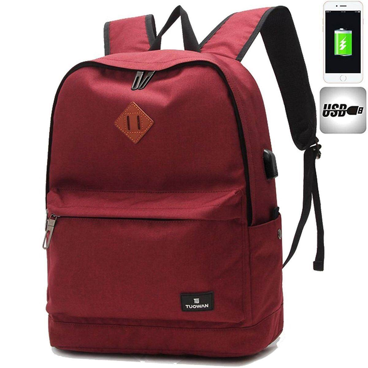 Men Women Usb Charging Oxford Backpack School Rucksack Casual Travel Laptop Bag Red By Moonbeam.
