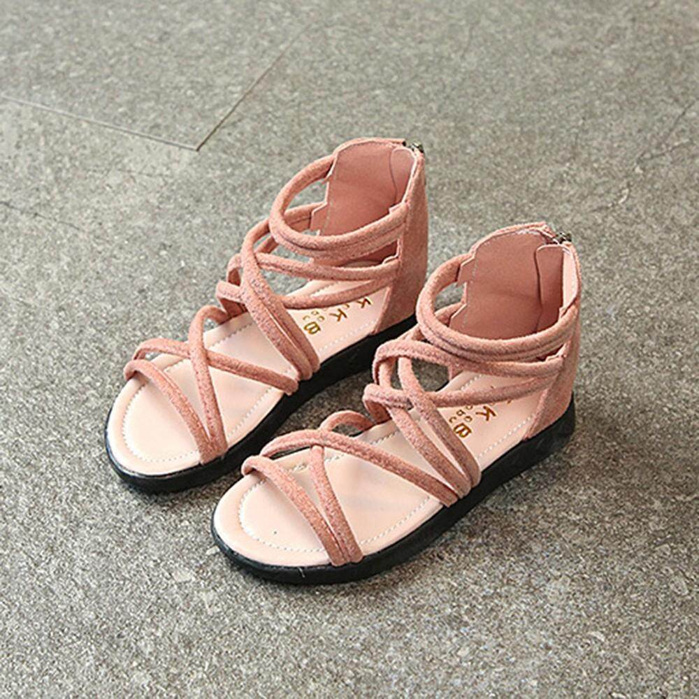 a1bf396d98 Children Infant Kids Girls Solid Leather Zip Boot Beach Sandals Casual Shoes