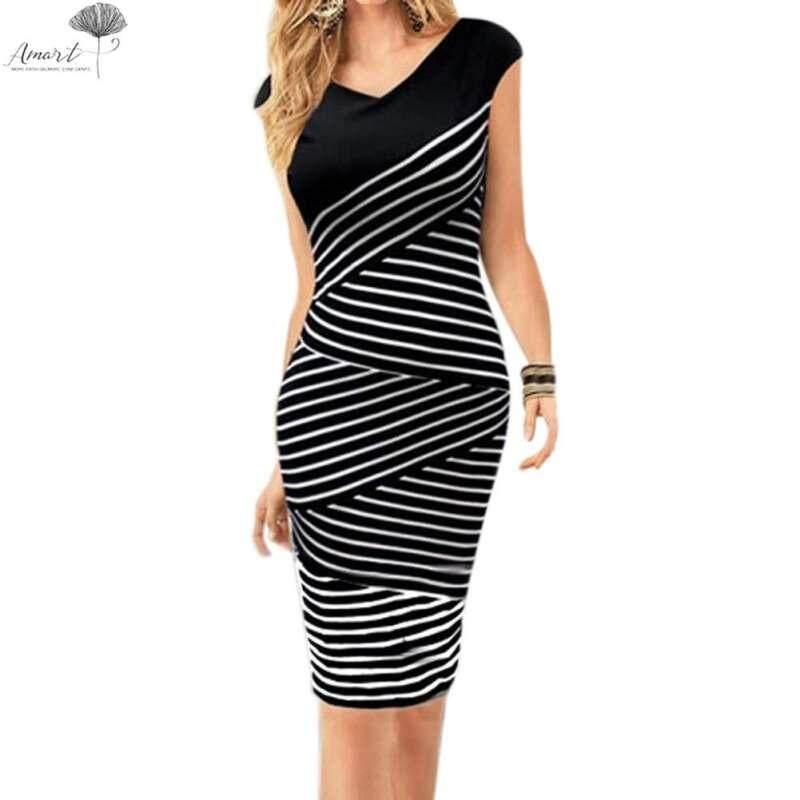 73296e53 Vintage Women Striped Dress Business Office Feminine Tunic For Work Clothes  (Black&White)