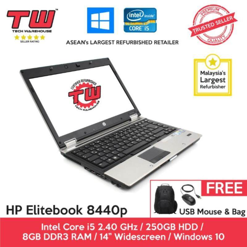 HP Elitebook 8440p Core i5 / 8GB RAM / 250GB HDD / Windows 10 home Laptop / 3 months Warranty (Factory Refurbished) Malaysia