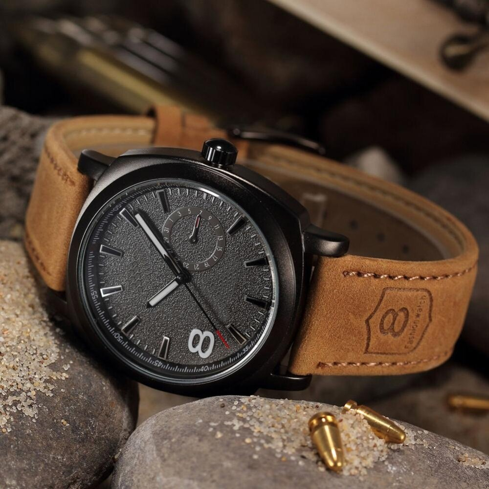 Mens Fashion Faux Leather Strap Sport Military Quartz Analog Wrist Watch Malaysia