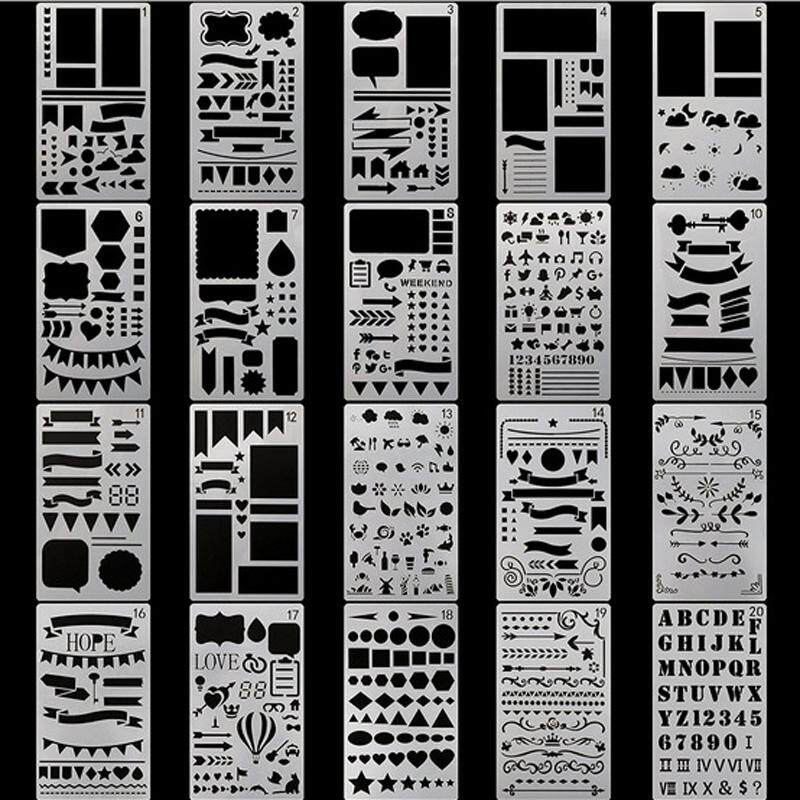 Ishowmall 20x Stencil DIY Drawing Template Journal Planner Diary Decor Craft Tools
