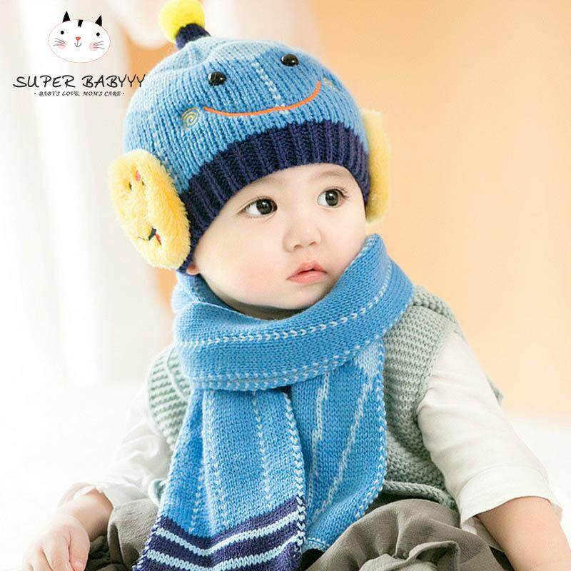 f74923f2430 SBY Baby Boys Girls Knitted Hat + Scarf Smile Face Winter Warm Beanie Cap  Hats Scarf