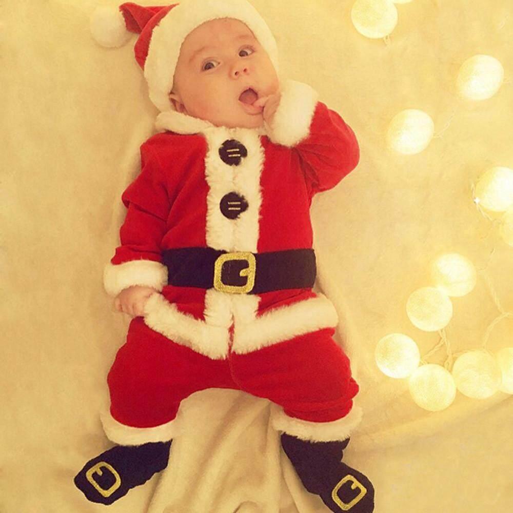 0beb400eb5fd Foctroes 4PCS Infant Baby Santa Christmas Tops+Pants+Hat+Socks Outfit Set  Costume