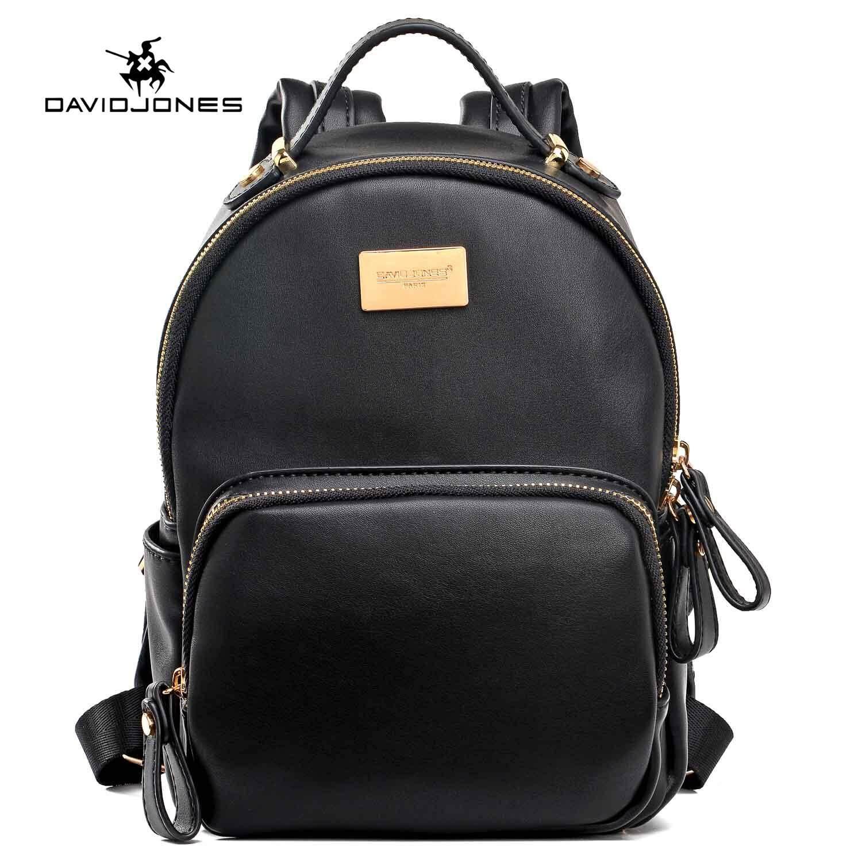 1945ac2af687 DAVIDJONES women backpack pu leather female shoulder bag large spring plain  lady back bag girl summer