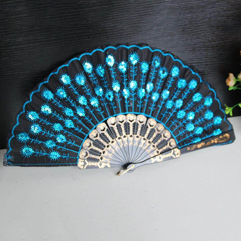 Embroidered Folding Sequins Hand Lace Flower Fan( Blue )