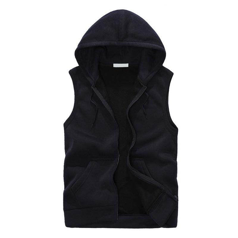 Fashion Men Sleeveless Hoodies Vest Casual Sports Sweatshirt Black Xl By Sunshineyou.