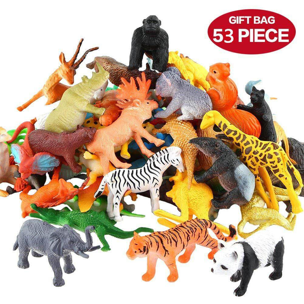 Wt 53pcs/set Mini Jungle Animal Toy Set Dinosaur Wildlife Model Children Puzzle Early Education Gift By Wonderful Toy.