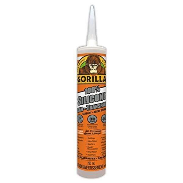 Gorilla Clear 100 Percent Silicone Sealant Caulk, 10 Oz, Clear