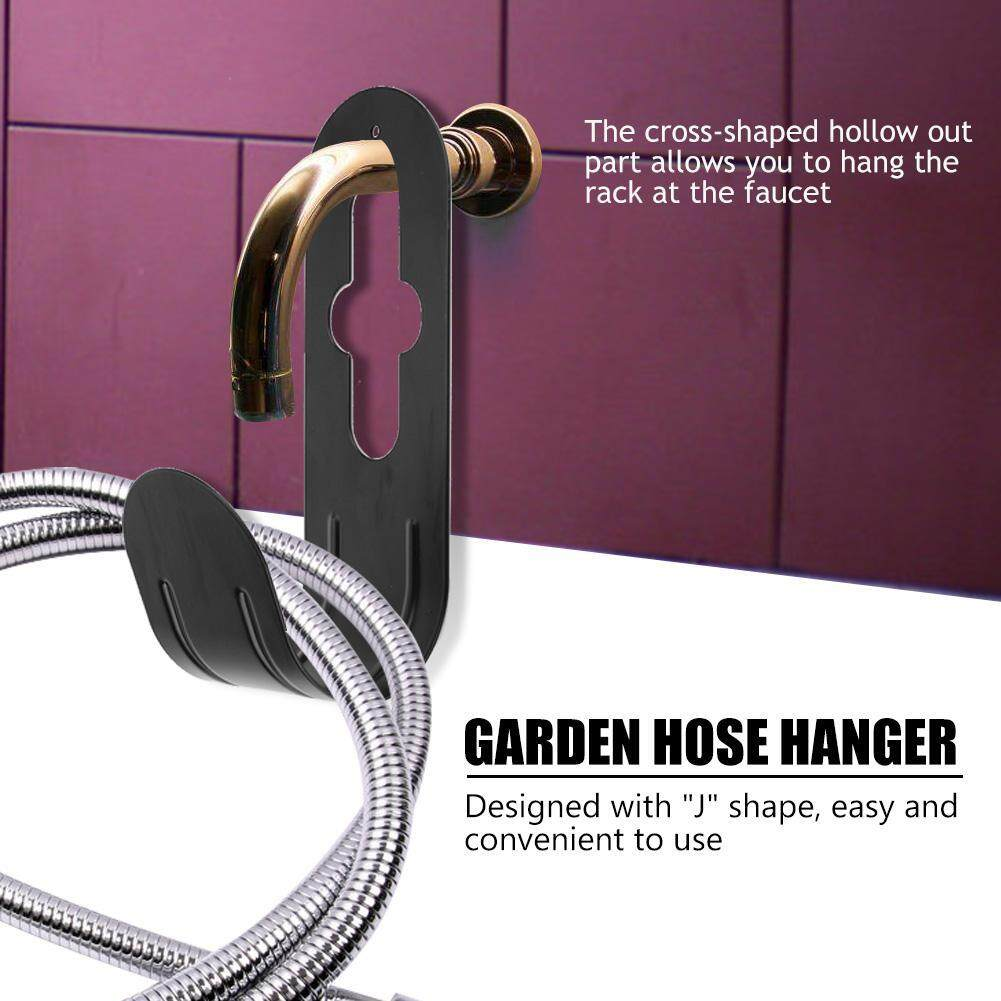 Black Iron Metal Home Garden Hose Holder Hanger Tidy Mounted Watering Pipe Rack Organizer