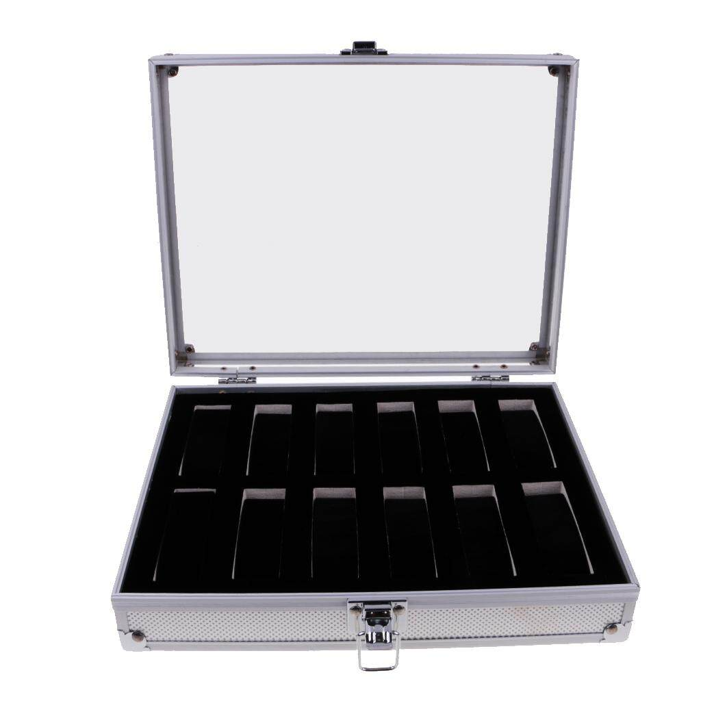 BolehDeals Luxury Watch Box Watch Case Aluminum Glass Top Jewelry Case Organizer 6/10/12/24 Slots Malaysia