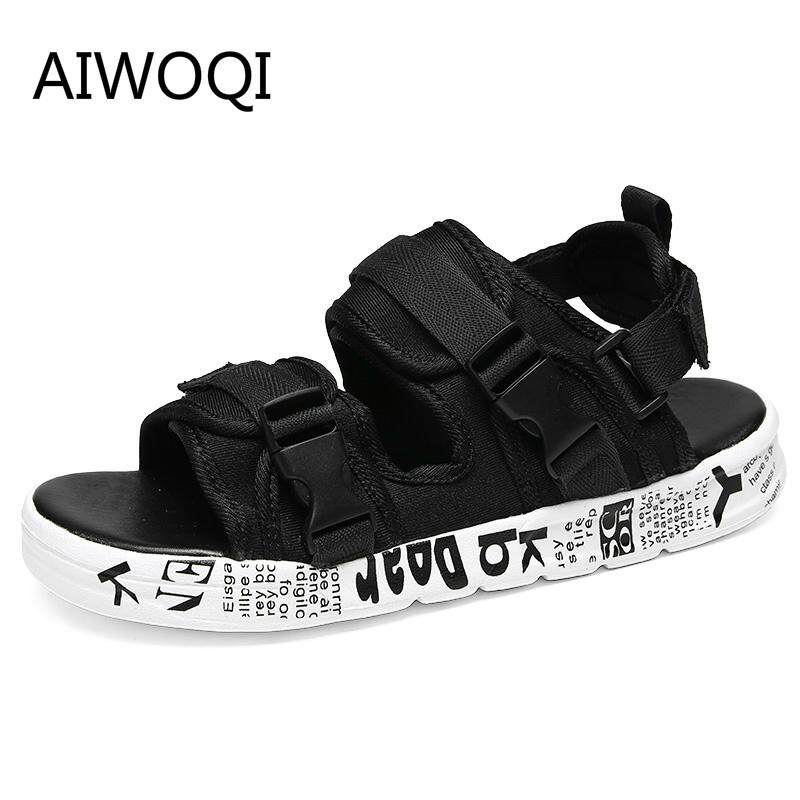 AIWOQI Men Slippers Sandals Flip Flops Men Fashion Beach Flip Flops Sandals  Breathable Men Casual Walking