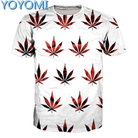 YOYOMI Men's Simple Digital Print Short Sleeve White T-Shirt