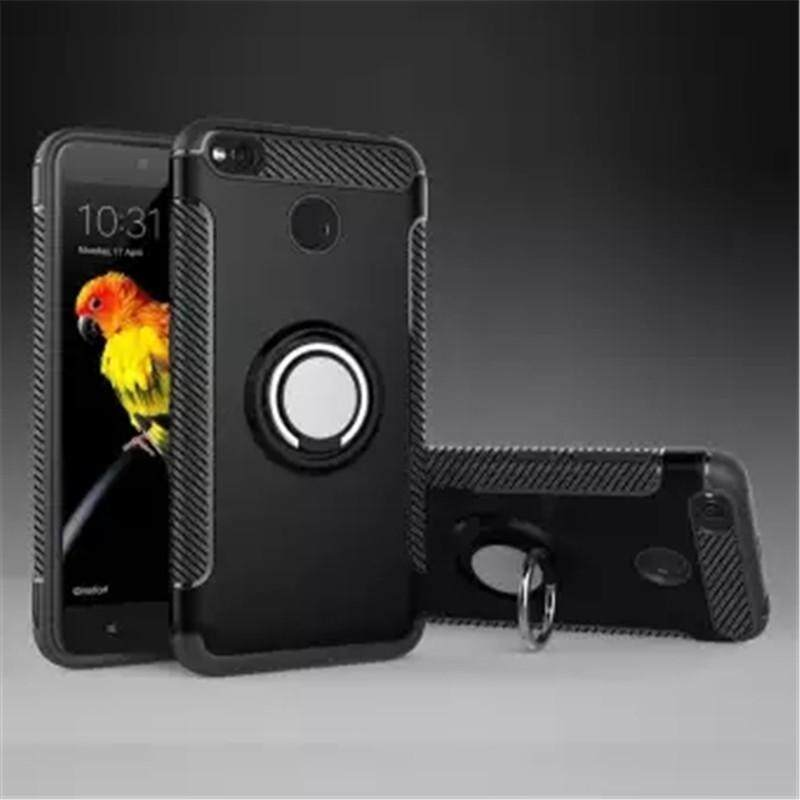 Car Holder Phone Case Cover Magnetic Suction bracket finger ring kickstand Case Cover for XiaoMi Redmi
