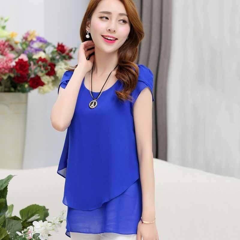 0507f3d7320 2018 Women Chiffon Blouses Shirts Short Sleeve Double Irregular Solid  Fashion Casual Ladies Tops Blusas