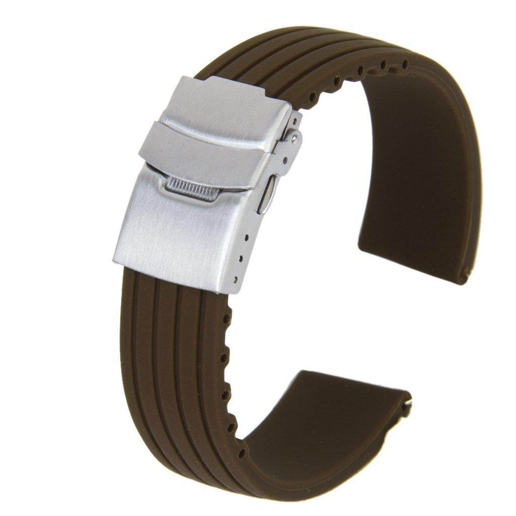 Silicone Rubber Watch Straps Clasp Waterproof 22 mm Coffee Malaysia