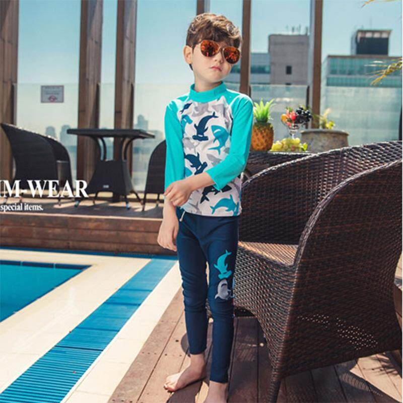 22c12f0e9c New Fashion Boys Two-pieces Swimwear Long Sleeve Long Pants Swimsuits  Children Kids Beachwear Quick
