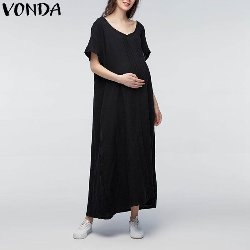 87c4c4f8a24 VONDA Summer Maternity Clothing Casual Loose Solid Dress Pregant Women  Short Sleeve Ankle-length Pregnancy