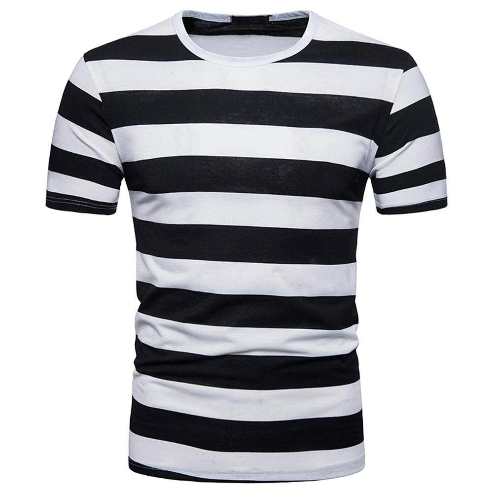 d17788e38ef6 nagostore Men s Summer Casual Stripe Round Neck Pullover T-shirt Top Blouse