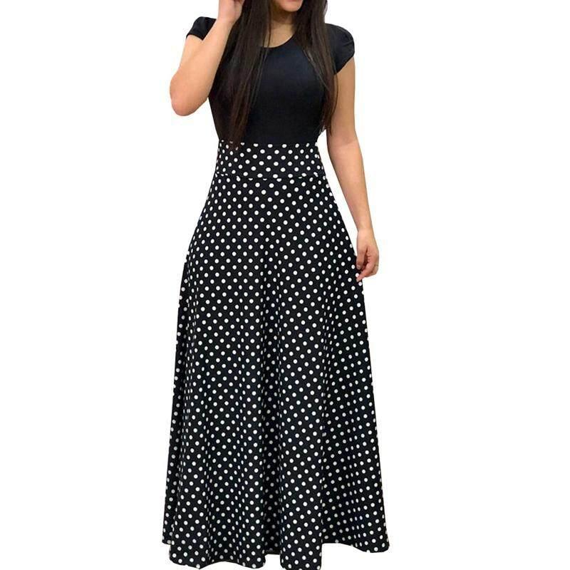 6afe483a44c Women Polka Dot Print Short Sleeve Elegant Maxi Dress Casual Elastic High  Waist Beach Long Dress