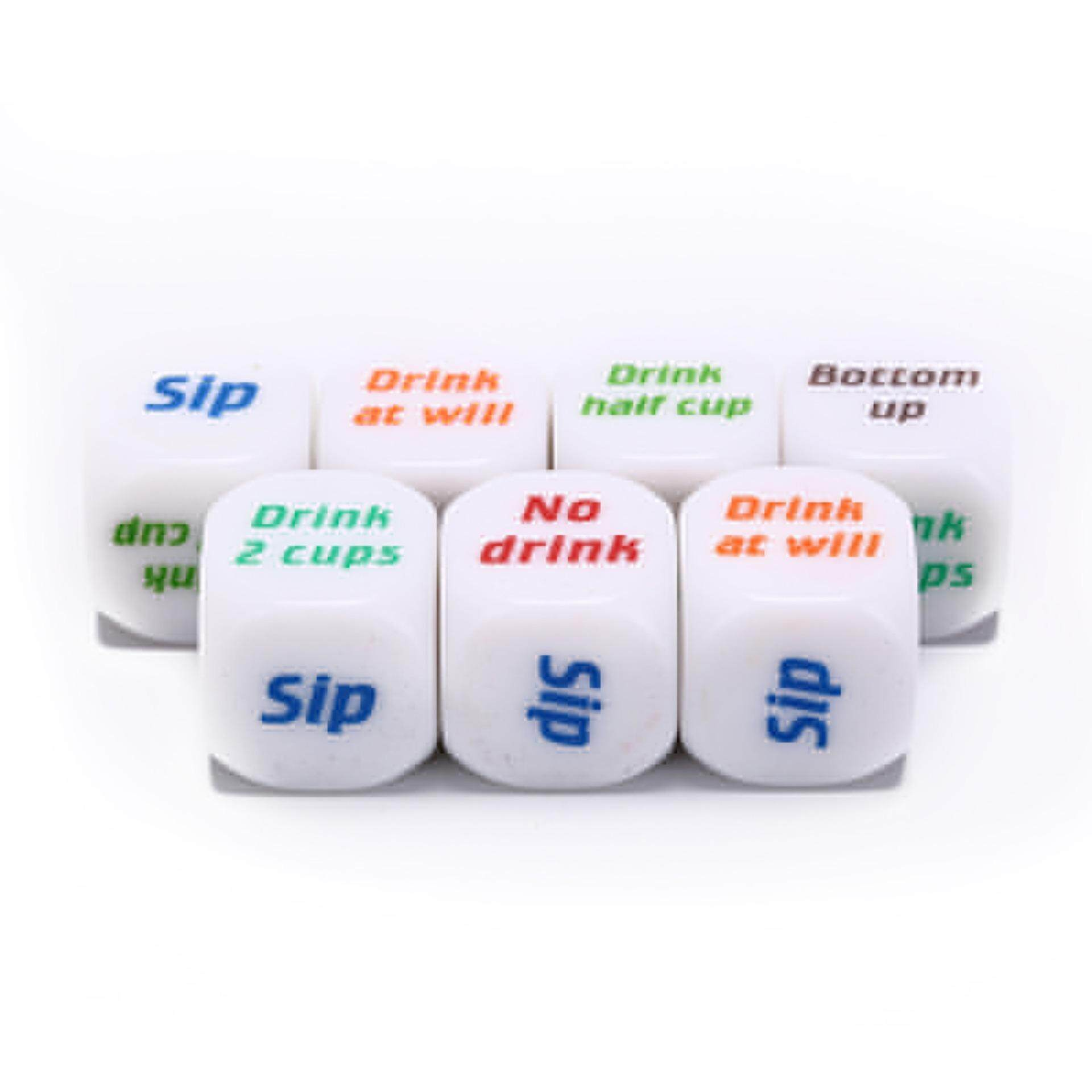 Blowing 7pcs funny drink drinking sip dice roll decider die game party bar club pub White