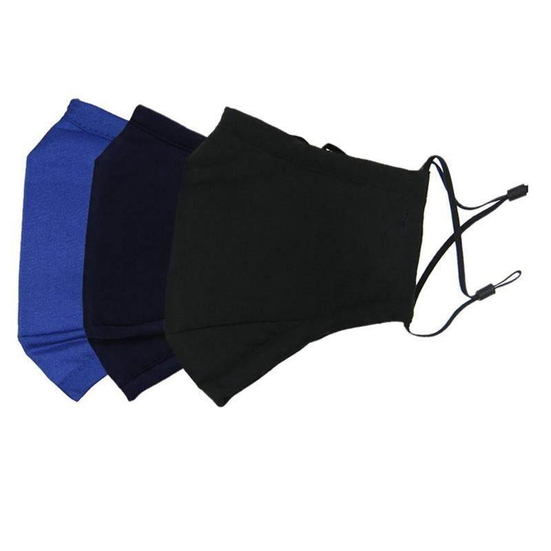 3 Pcs Unisex Dust Allergy Flu Masks Washable Cotton Breath Healthy Safety Masks black blue Navy blue