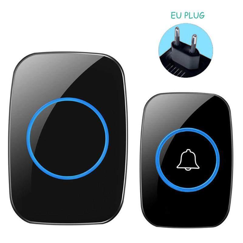 300m Waterproof Led Wireless Doorbell Eu/Uk/Us Plug 38 Songs Chime Door Bell Black EU
