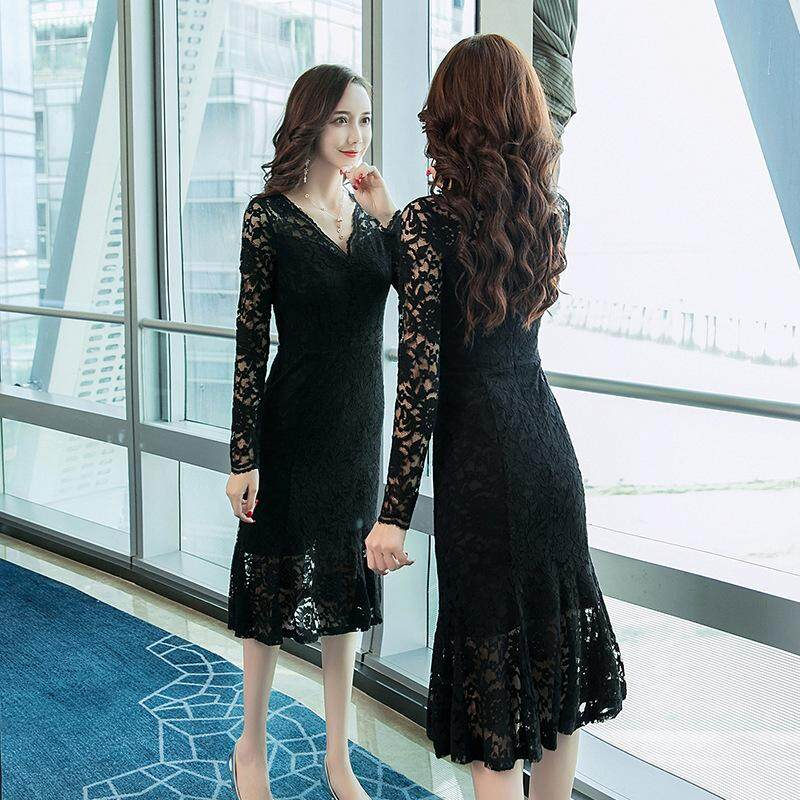 907255e3191 Sexy Woman V-neck Lace Dress MIDI Elegant Lady Long Sleeved Pencil Fishtail  Dresses Causal