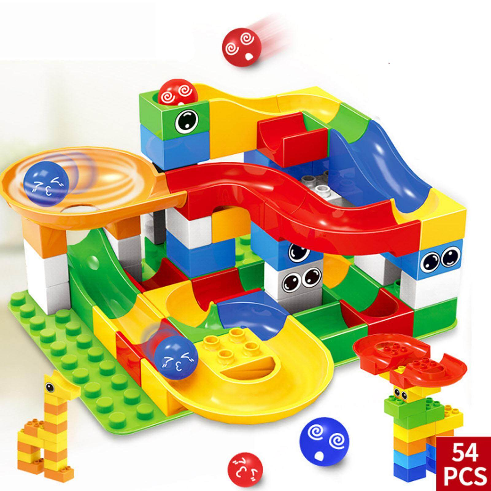 Nava Diy Children Creative 54 Pcs Colorful Large Slide Marble Puzzle Kids Toys By Nava