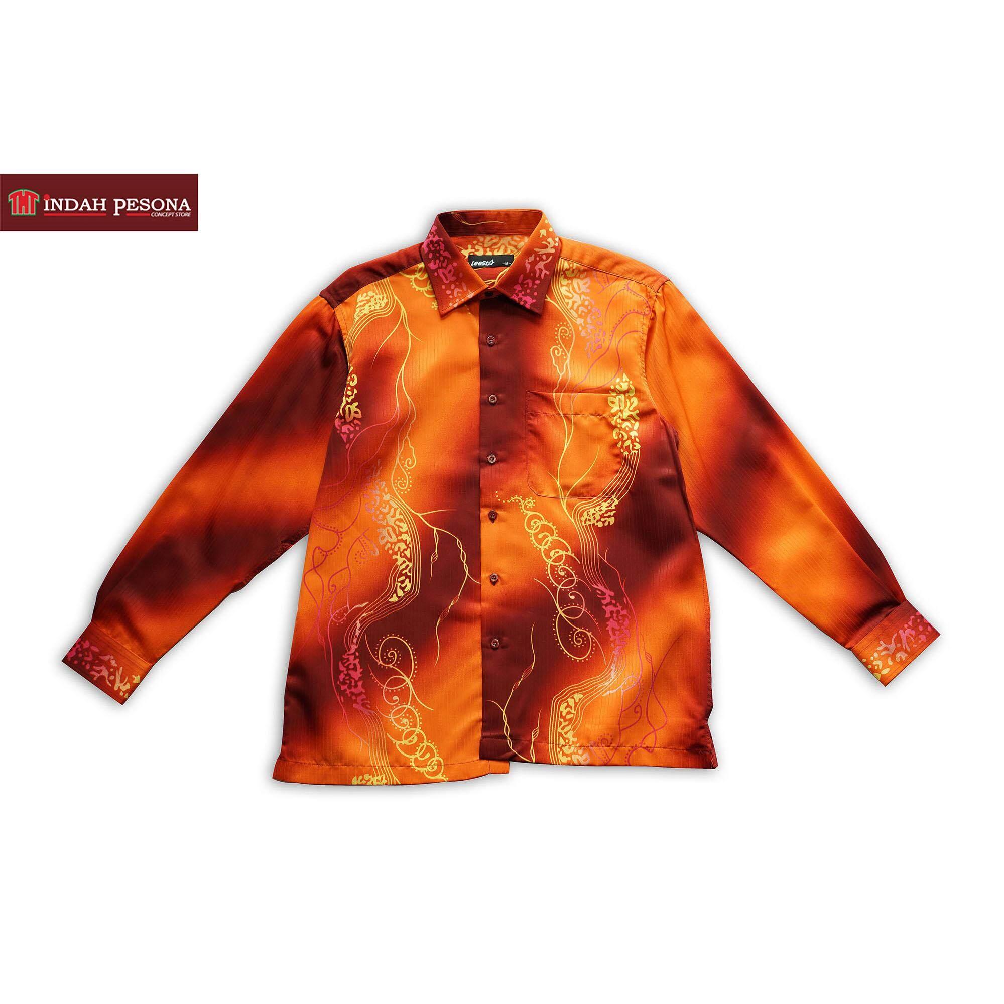 Baju Batik Lelaki Satin Color Printed Batik Shirt (Long Sleeve Shirt) 2a6fead718
