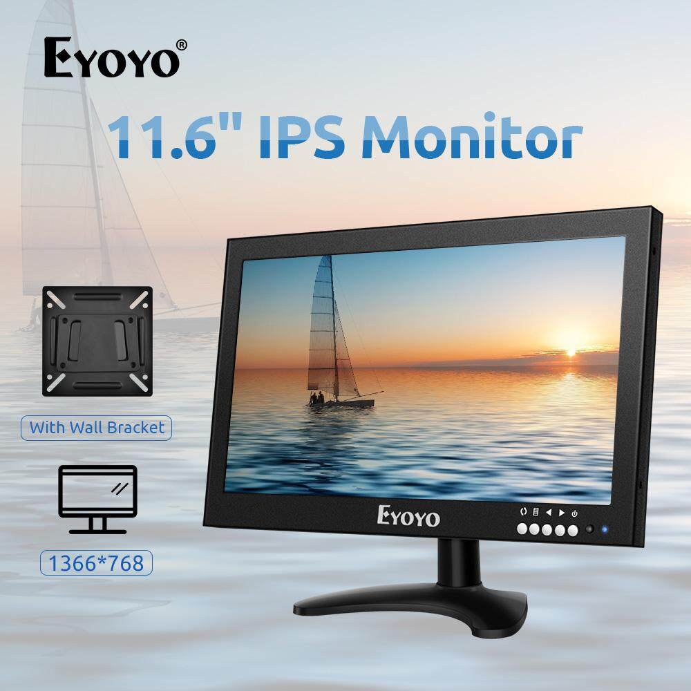Eyoyo 12 inch Monitor,LED Screen Support HDMI/VGA/AV/BNC Input Video Audio Built-in Speakers With Wall Bracket&Remote Malaysia