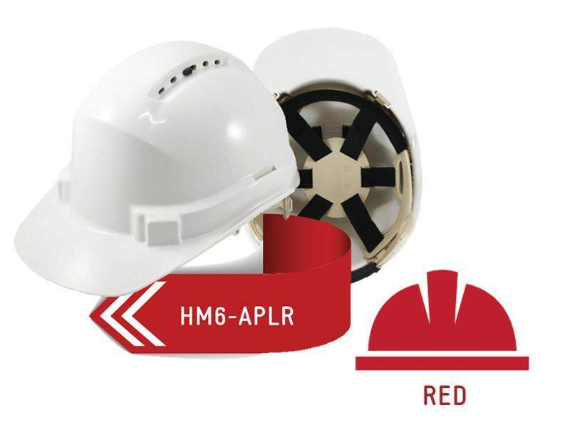 ISAF Industrial Safety Helmet c/w Ratchet Lock, Sweatband & Chinstrap - Red