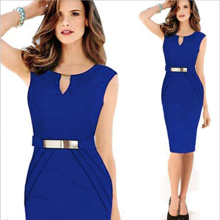 4bed3322d021 liva girl Womens Elegant Sleeveless Belted Wear To Work Office Business  Party Casual Summer Bodycon Slim
