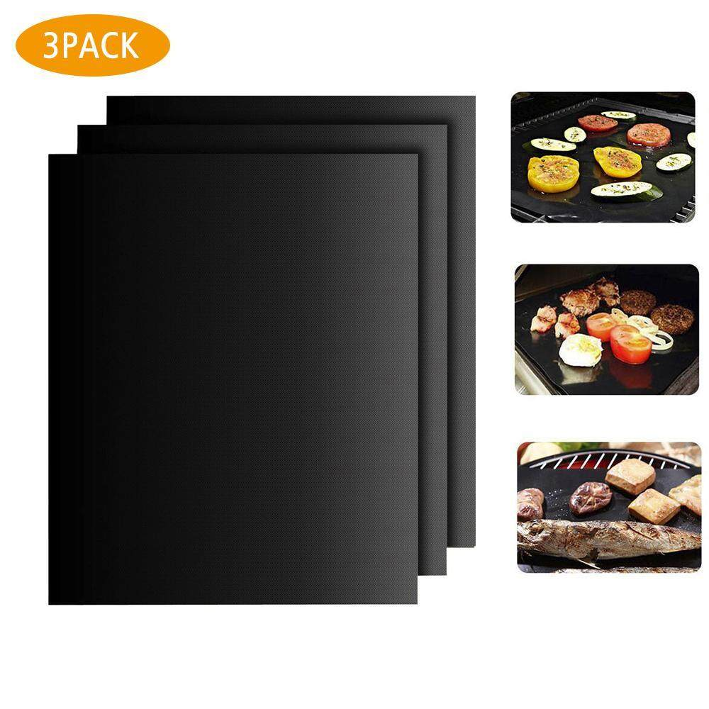 Womdee BBQ Grill Mat Set Of 3 Mats: Reusable Durable Non Stick Heat Resistant Cover For Charcoal, Gas Electric Barbecue Grills - Premium Large Grilling, Cooking And Baking Sheets - 40*33cm