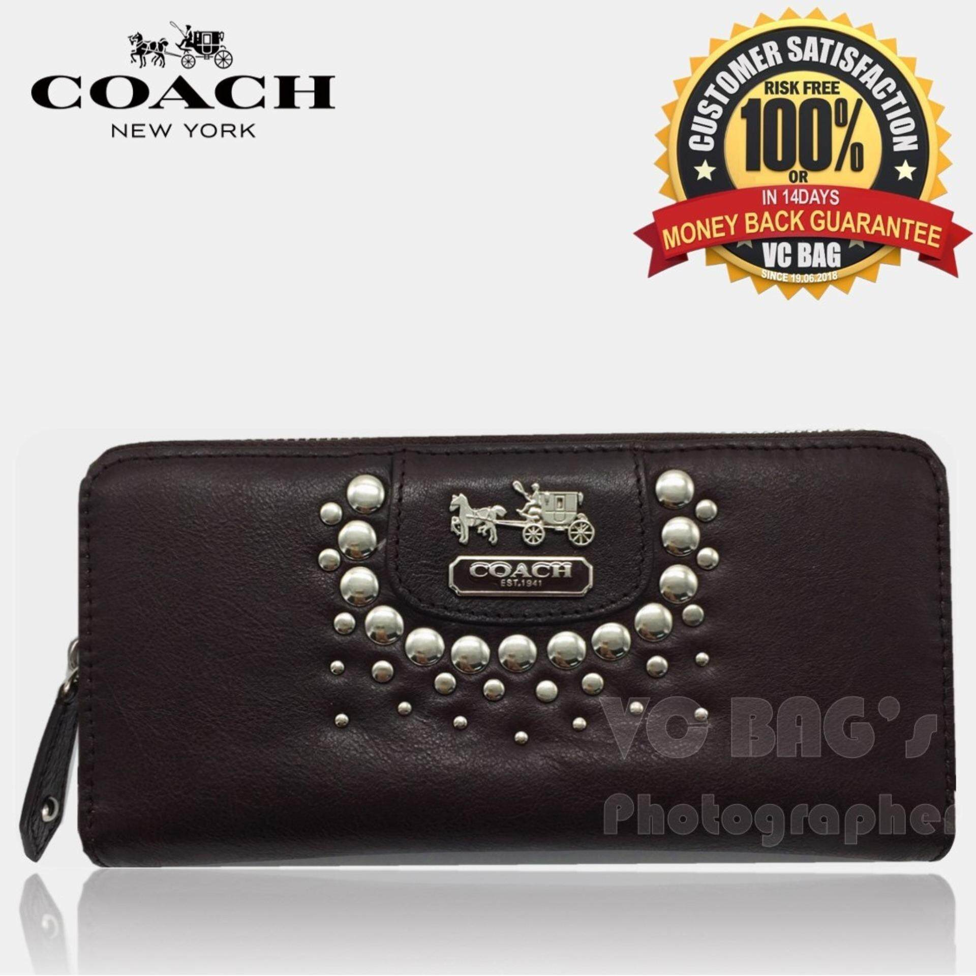 cad755f21f9f7 COACH F42915 Studded Patent Zip Around Wallet  Coffee