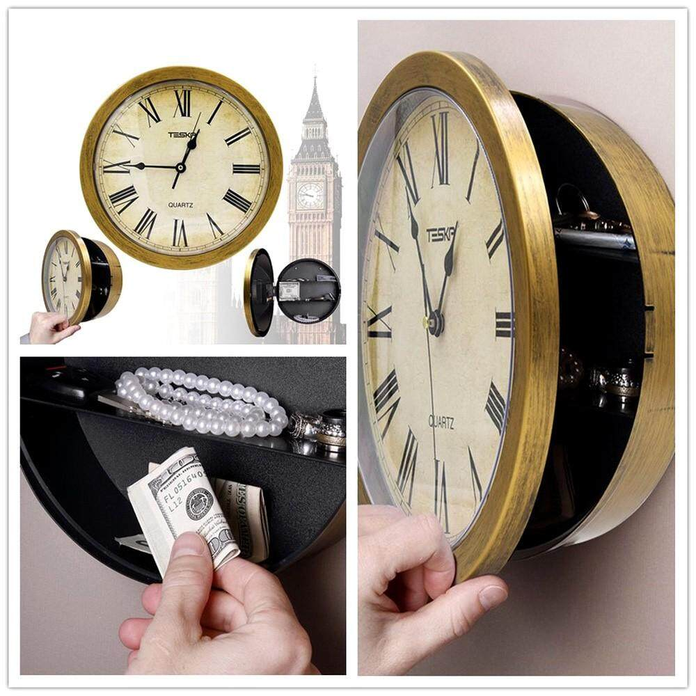 Retro Plastic Hidden Secret Wall Clock With Secret Compartment Hidden Safes, Money Jewelry Storage Box Container Gold