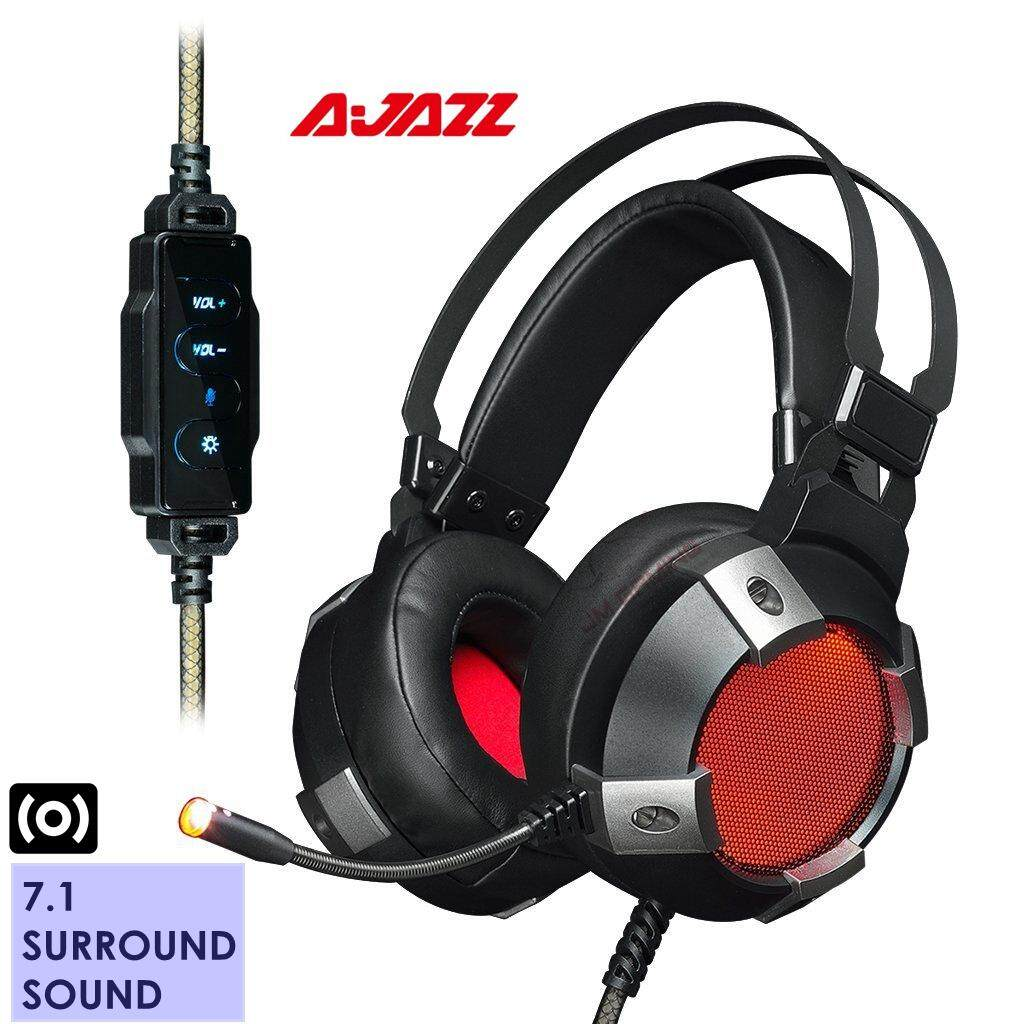 【jm Gaming Malaysia】ajazz Ax361 7.1 Channel Usb Stereo Gaming Headset, Gaming Headphone, Noise Cancelling Over Ear Headphone With Mic, Led Light Soft Memory Earmuffs, Black By Jm Gaming Malaysia.