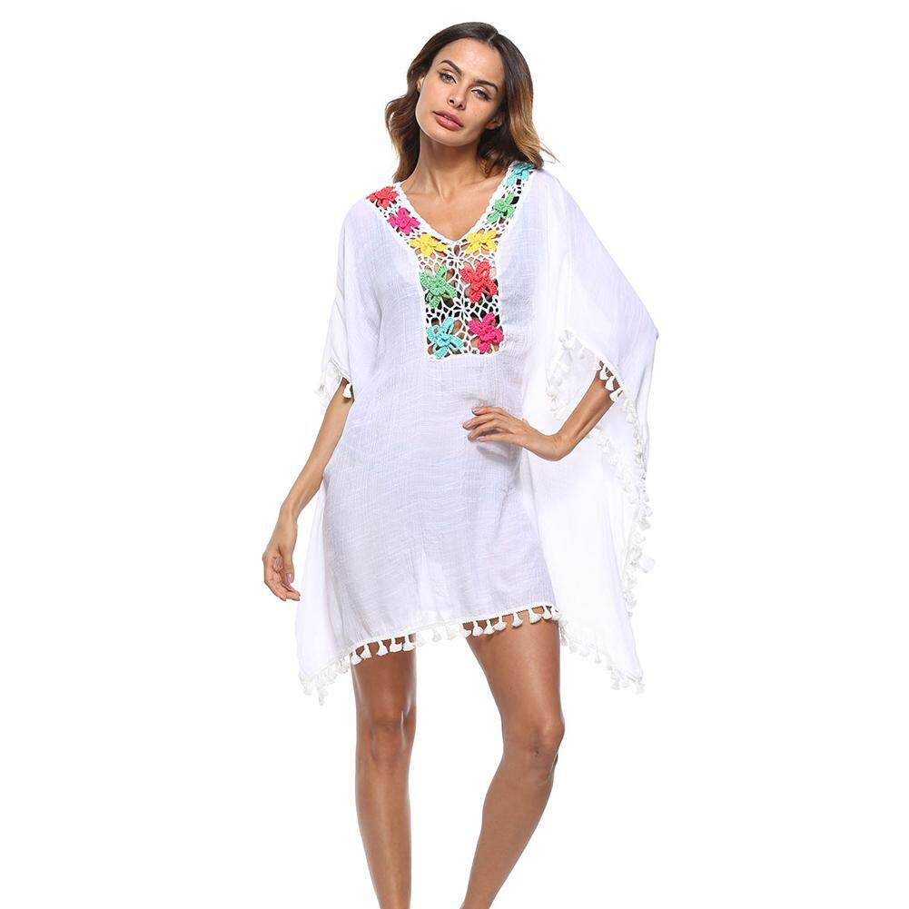 04ba6a93d3 Women Swimsuit Cover Up Crochet Lace Hollow Out Boho Loose Beach Bikini  Cover-up