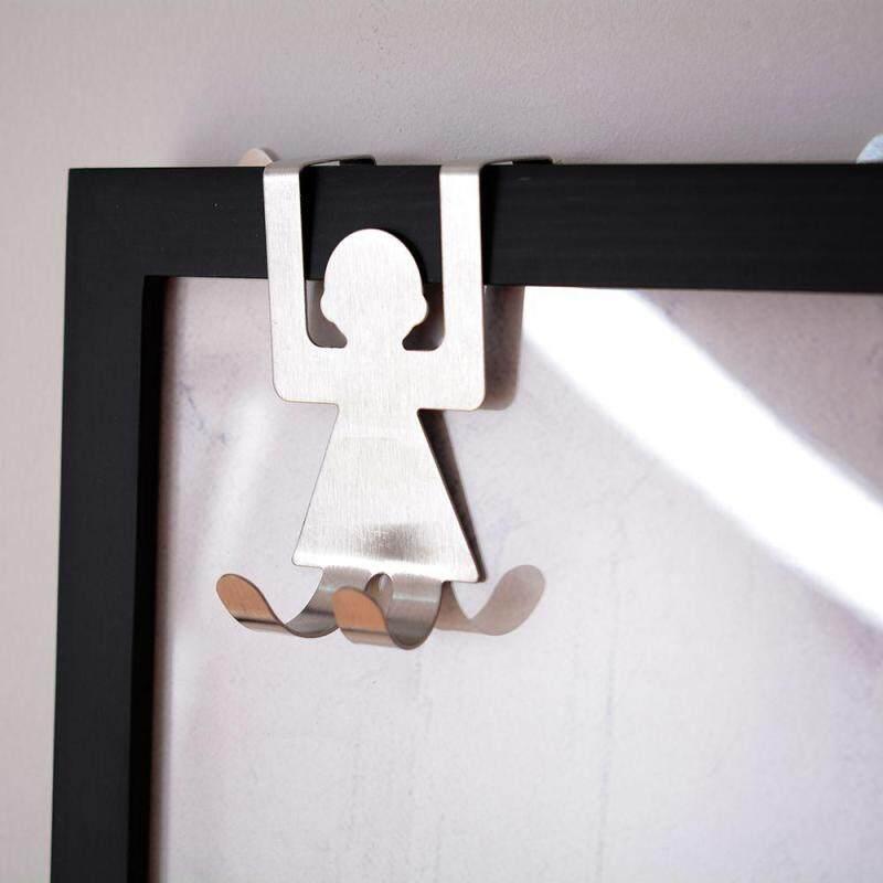 2pcs Human Shape Door Back Type Hook Stainless Steel