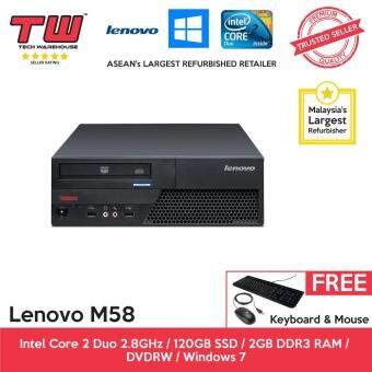 Lenovo M58 Core 2 Duo 2.8GHz / 2GB RAM / 120GB SSD / Windows 7 (SFF) Desktop PC / 3 Months Warranty (Factory Refurbished)