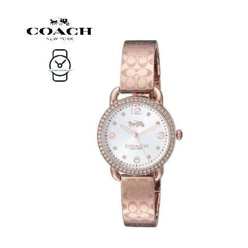 (100% ORIGINAL) Coach Ladies 14502767 Delancey Crystal Silver Dial Stainless Steel Watch TWO (2) Years International Warranty (Rose Gold) Malaysia